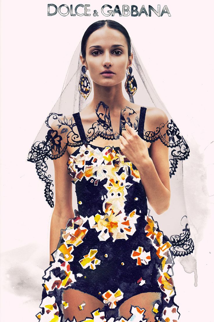 "Dolce & Gabbana // Design Scene magazine ""INK FABRIC"" feat. model Myroslava Dronyuk // Illustration by Julia Slavinska"