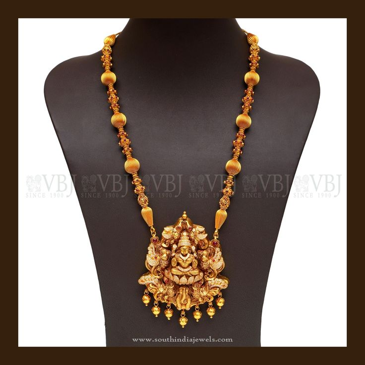 Latest Lakshmi Haram from VBJ, Gold Antique Temple Haram from VBJ, Gold Haram Designs from VBJ.