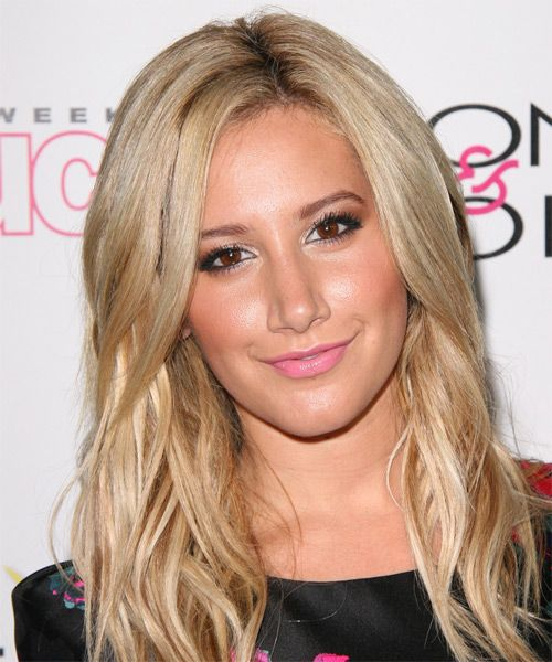 Ashley Tisdale Long Straight Casual Hairstyle Light Blonde Champagne