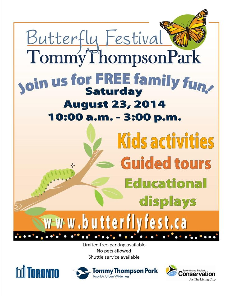 Butterfly Fest Poster 2014 - Tommy Thompson Park - August 23rd 10am - 3pm