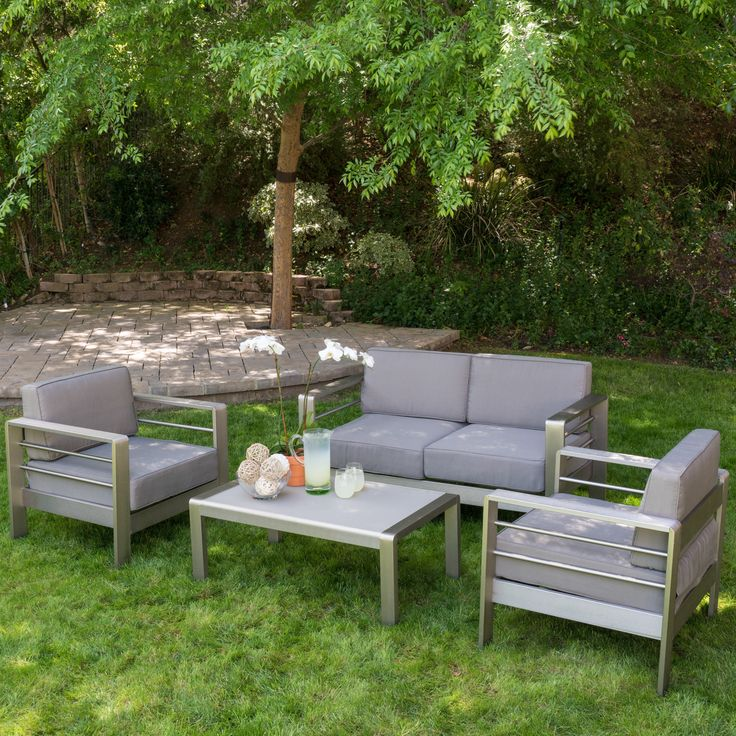 Cape coral outdoor aluminum 4 piece loveseat set with cushions by christopher knight home by Loveseat cushions for outdoor furniture