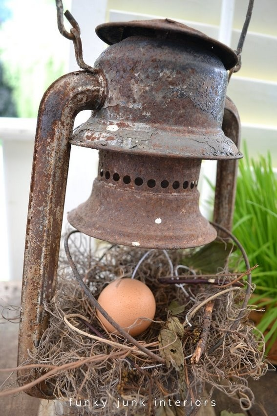 nest in an old lantern...love this
