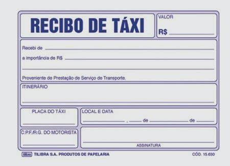 Imprimir Modelos Recibos Corrida Táxi Recibo Taxista Trabajos