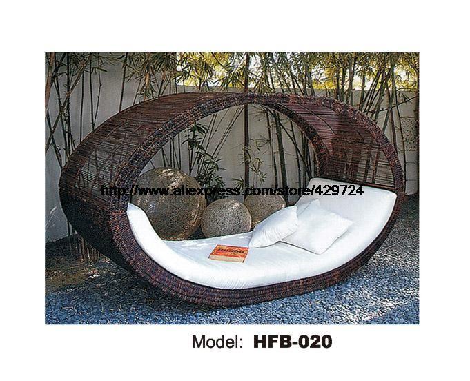 Bird's Nest Design Creative Rattan Sofa Bed Leisure Lying Lounge Chair Garden Beach Swimming Pool Chair bed Sofa Furniture