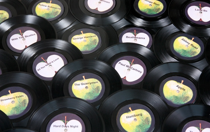 """These 7"""" vinyl records make great table names for your Beatles or music themed event or Wedding. Each one is designed around the original Apple label and has the name of a Beatles song or text of your choice £3.50 each"""