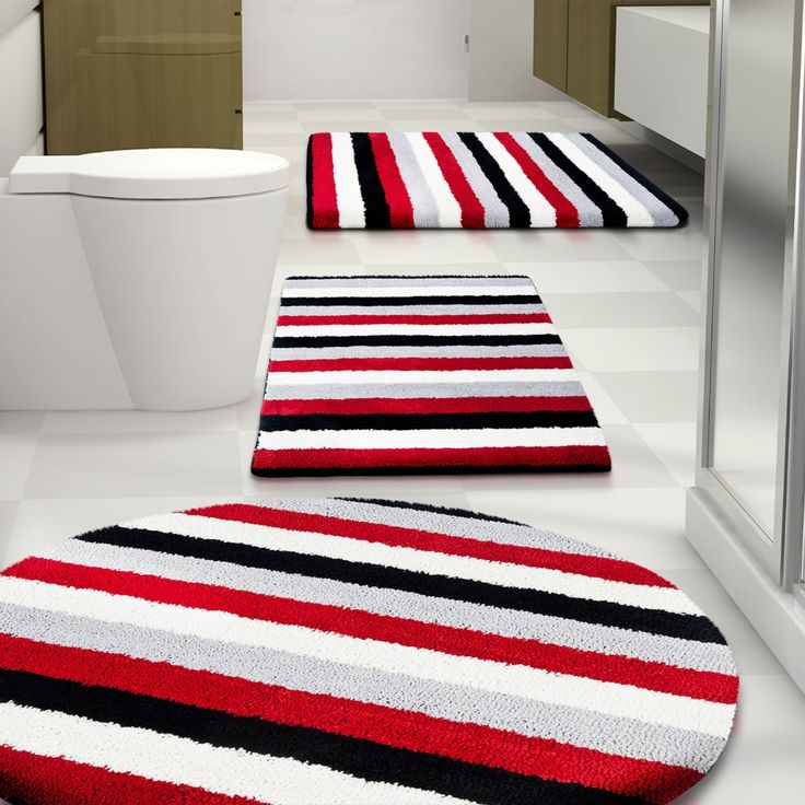 Best Red Bathroom Rugs Images On Pinterest Red Bathrooms - Black white and grey bath mats for bathroom decorating ideas