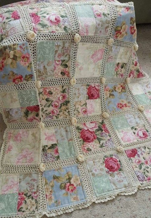 Crochet and fabric quilt - Tutorial and pattern