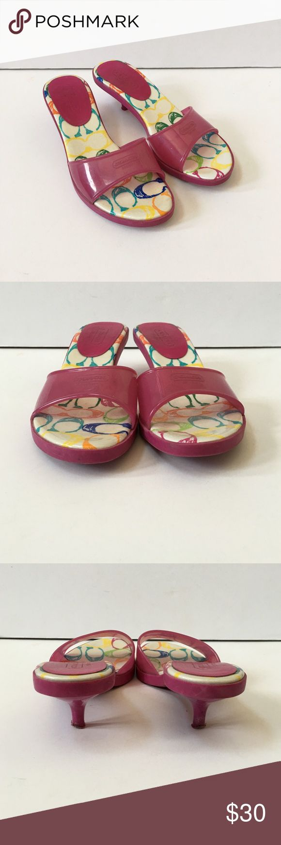 """Coach Jelly Kitten Heels Slip on sandal with 2"""" kitten heel. Great for lounging by the pool. Wear on bottom, heel and insole. No trades. Generous 30% bundle discount. Coach Shoes Sandals"""
