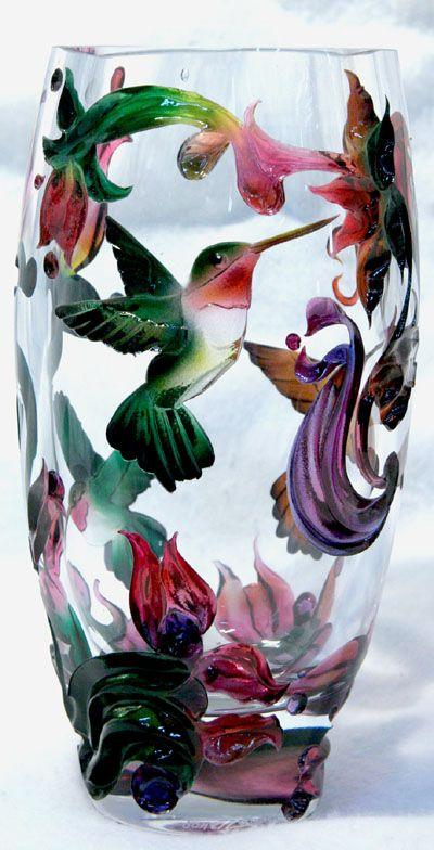 Carved glass vases sandblasted glass vases rocky mountain - Glass art by artis ...
