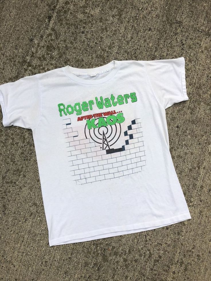 vintage 80s ROGER WATERS AFTER THE WALL KAOS RADIO K.A.O.S. WHITE t-shirt L  | eBay