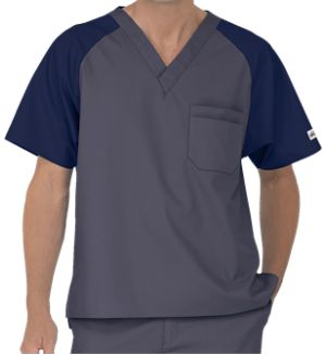 UA Best Buy Scrubs Men's Color Block Scrub Top   This men's color block top from our Best Buy collection is made to last and weather the longest shifts at the office. Style # CT707 #uniformadvantage #uascrubs #adayinscrubs #gray #blue #scrubs