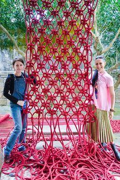 Australian fiber artist Natalie Miller made the world's biggest macrame chandeliers with 10km (6 miles) of rope.