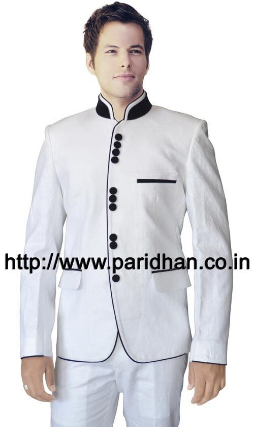 Mens designer linen suit made in white color pure linen fabric. It has bottom as trouser made in same color fabric. Dryclean only.