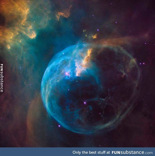 Hubble's first photograph of the entire Bubble Nebula.