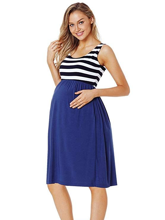 26d5496186695 CareGabi Maternity Tank Dress Women's Sleeveless Stripe Knee Length Tank  Dress for Baby Shower at Amazon Women's Clothing store: