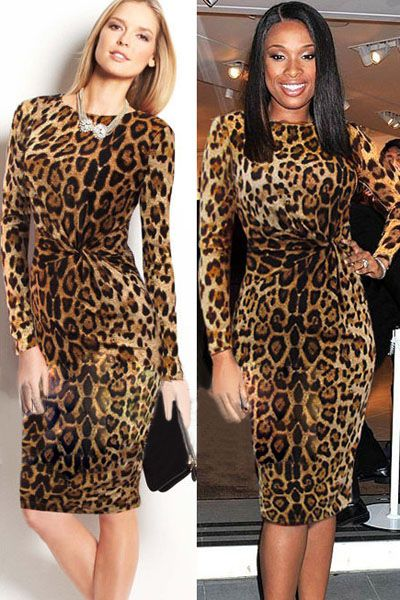 Celeb Leopard Ruched Party Bodycon Pencil Midi Dress