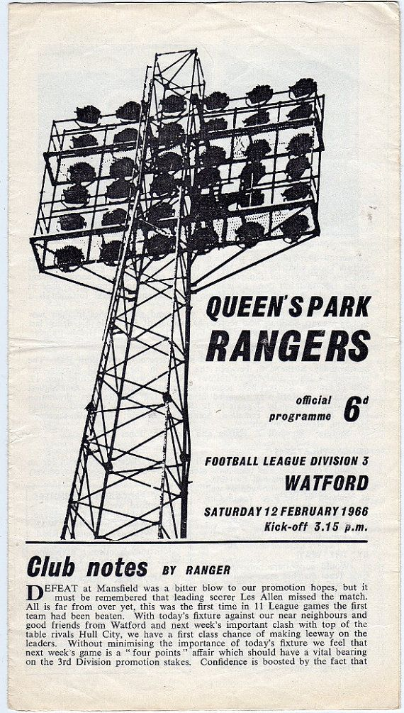 Vintage Football (soccer) Programme - Queens Park Rangers v Watford, 1965/66 season #football #soccer #qpr