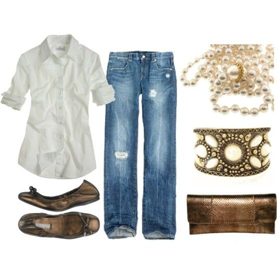 cute and causual! love the bronze accents! jeans and pearls always fun.
