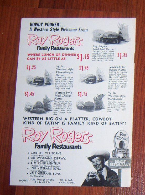 Roy Rogers Family Restaurant Menu