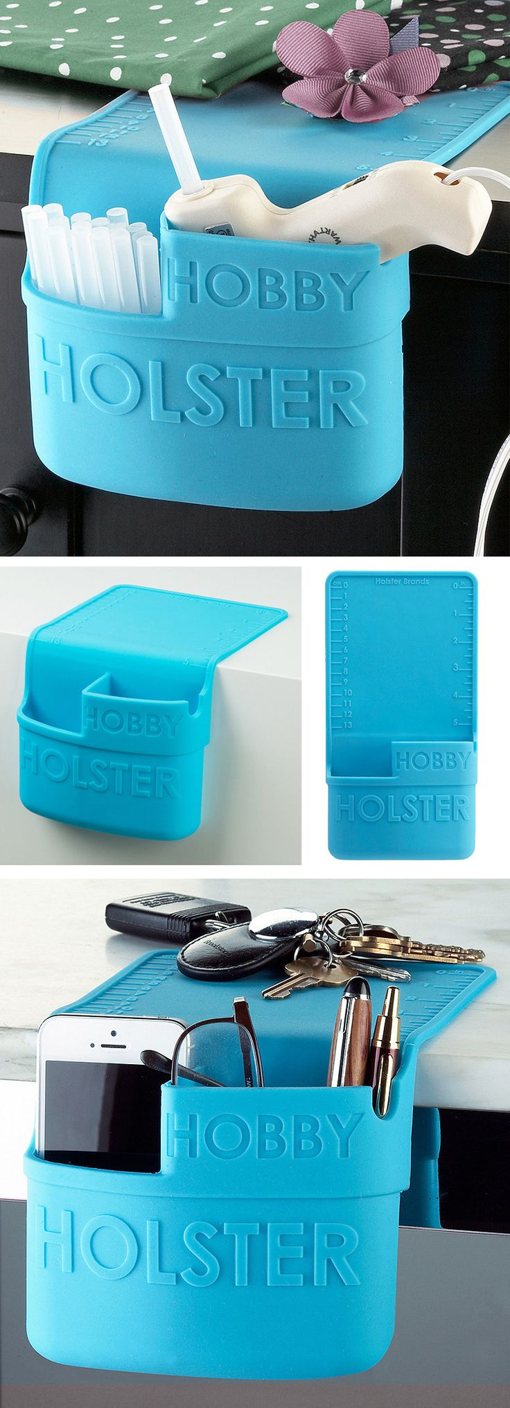 Hobby holster // Portable silicone holder grips to any smooth surface, easy to remove, heat resistant - can hold a hot glue gun!