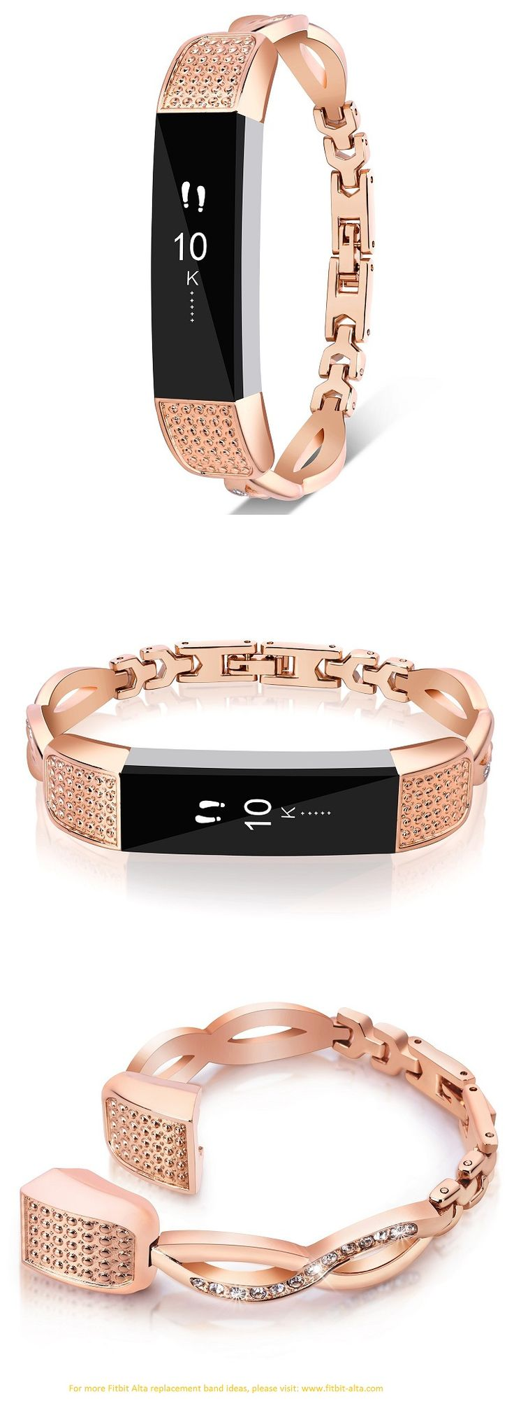VOMA Fitbit Alta Replacement Band / Bracelet Stainless Steel Style Bangle: Rose Gold