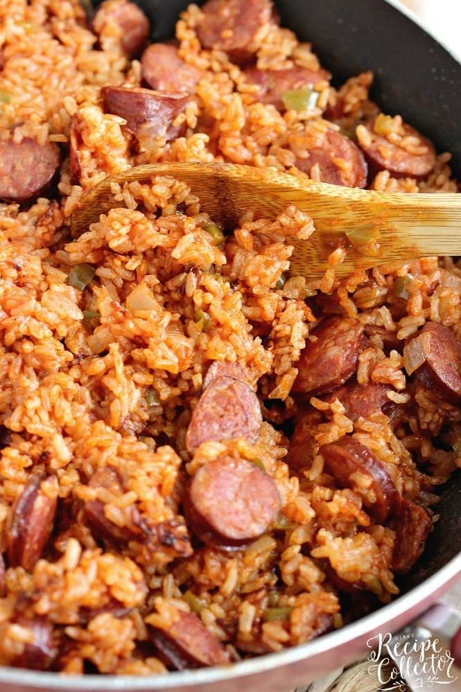 One Pot Sausage And Red Rice Recipe In 2020 Jambalaya Recipe Easy Easy Sausage Recipes Red Rice