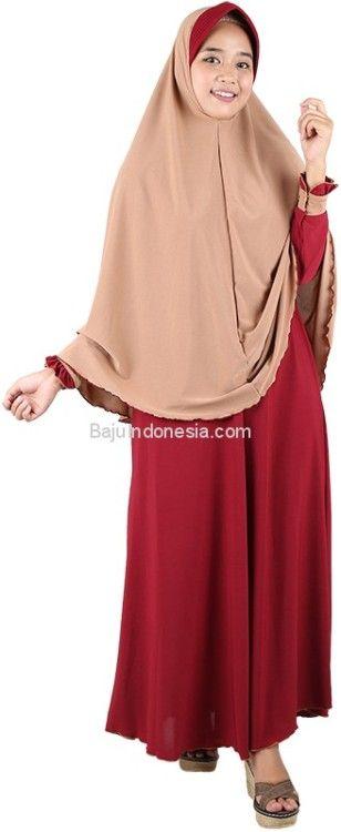 Baju muslim wanita RND 19-152 jersey marun L-XL. Rp...