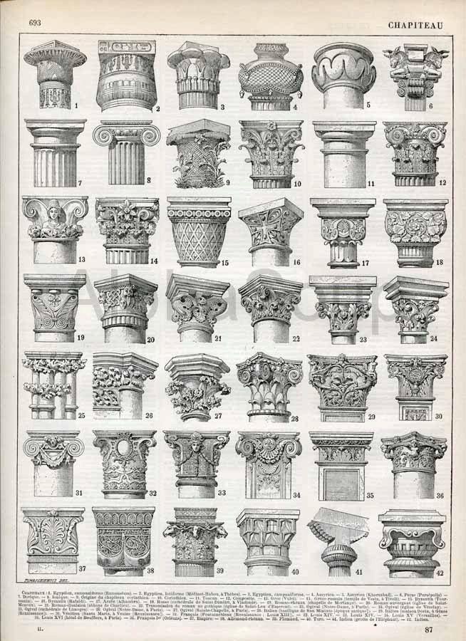 Architectural Building Columns French 1898-1904 Antique Engraving Print Nouveau Larousse Print. $12.00, via Etsy.
