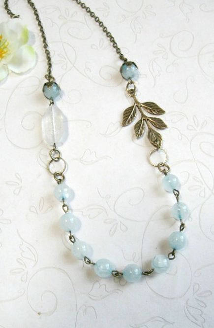 Pale blue necklace jade beads vintage style