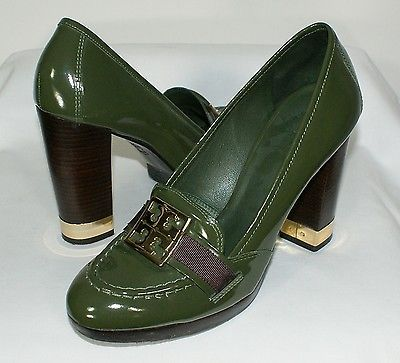 TORY BURCH Olive Green Patent Leather Loafer Style Pumps Heels Shoes Size  8.5