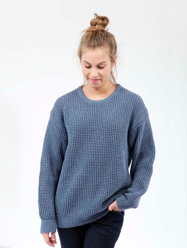 This oversized sweater keeps you warm whenever there is a fresh breeze. The sweater is made from recycled denim. Get it today!