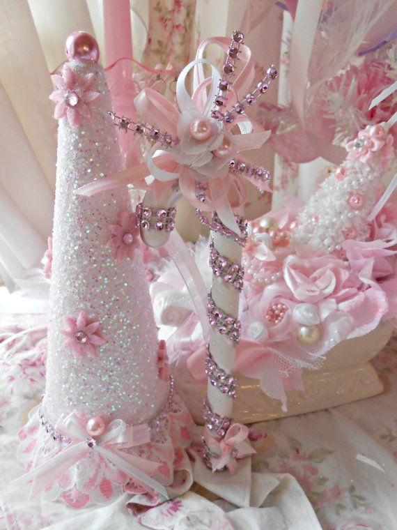Pink Candy Cane Bling Sparkle Christmas Ornament Tree Victorian Pink Christmas Lace Ornament SCT White French Lace