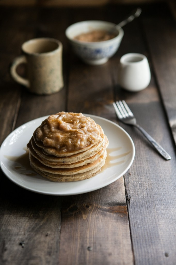 Hazelnut Pancakes with Roasted Rhubarb Cardamom Compote