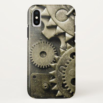 Antique Mechanical Gears Manly iPhone X Case - rustic gifts ideas customize personalize