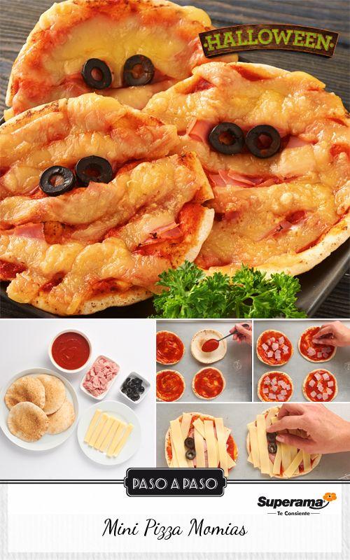 Unta 4 piezas de pan pita con 3 cucharadas de salsa para pizza y espolvorea 50 g de jamón finamente picado a cada una.  Corta 300 g de queso manchego rebanado en tiras de 2 cm de ancho y colócalas encima de la salsa a modo de que se crucen una con otra. Coloca dos rebanadas de aceituna negra juntas para formar los ojos y hornea a 200o C por 10 minutos
