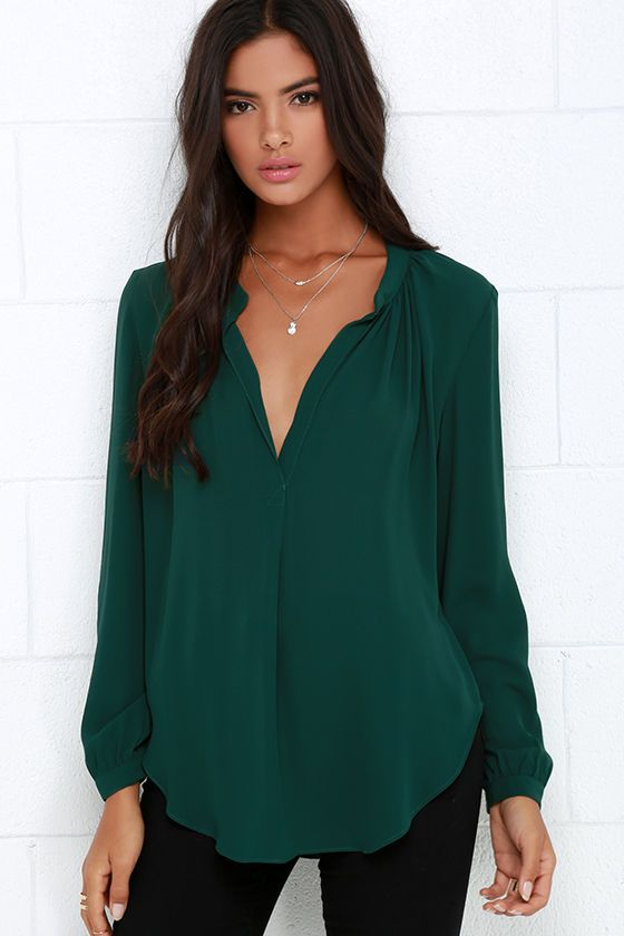 dce4e0b1a79f4 That Certain Something Dark Green Top in 2019 | Clothes | Green blouse  outfit, Green tops, Tops