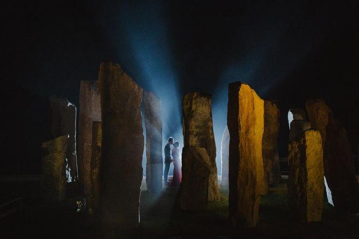 """A beautiful wedding kiss by a beautiful """"Stonehenge"""" view."""