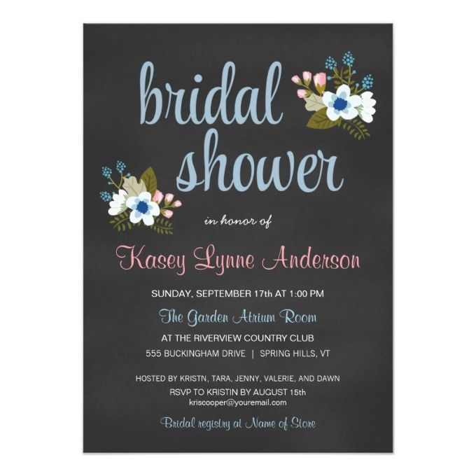 Chalkboard Fl Bridal Shower Invitations