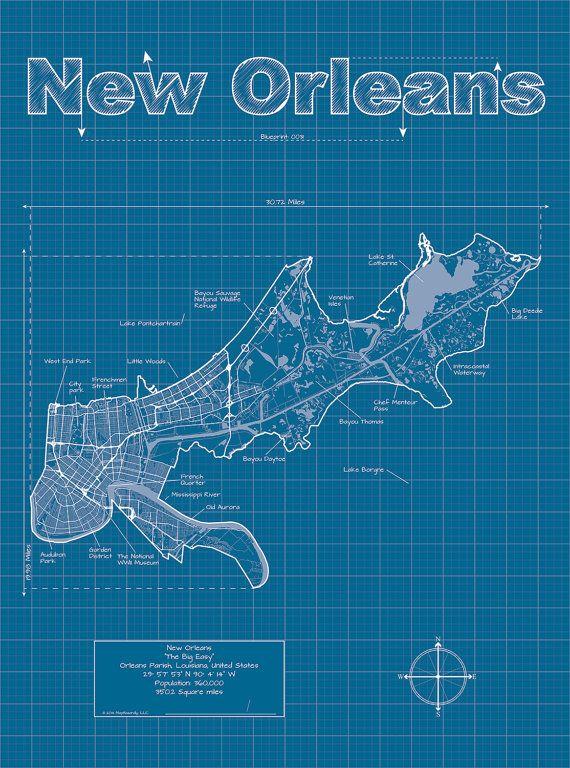 New Orleans Map / Original Artwork / New Orleans Blueprint /