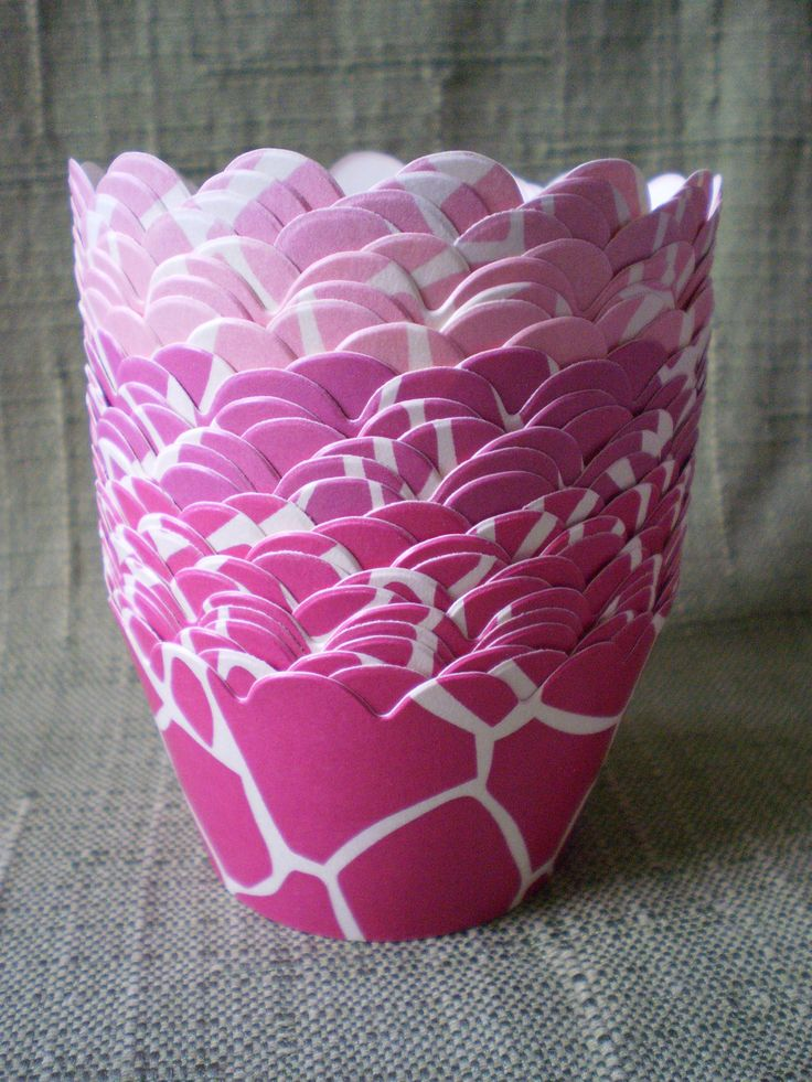 Giraffe Print Cupcake Wrappers Shades of Pink/Cream Background- Custom Color(s). $5.50, via Etsy.