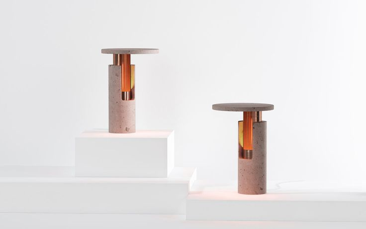 Mexican design brand Studio davidpompa explores two timeless materials, cantera rosa and copper, and combines them to create two new lamps.
