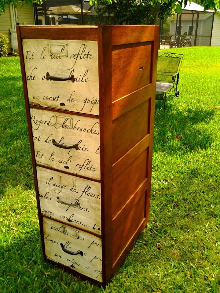 "Michelle's Crabby Chic Furniture. Just finished this amazing vintage file cabinet. Solid tiger oak. Painted and waxed with beautiful french poem on the deep drawers. Tons of character! This would be awesome in an office, craft/art room, home school. Lots of storage!  52""H 16 1/2""W 25""D"