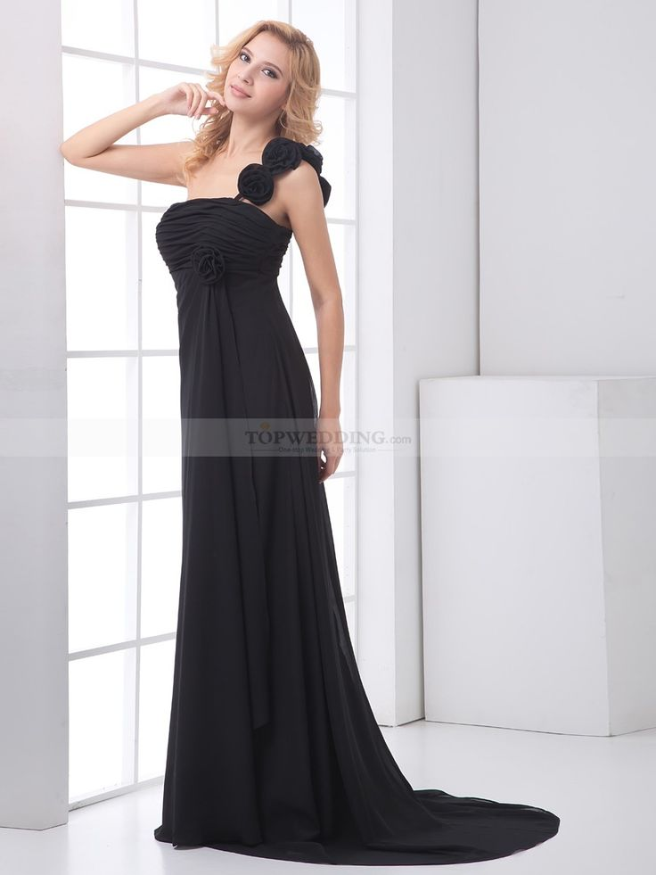 One Shoulder Strap Chiffon Empire Evening Dress with Flower and Sweep Train