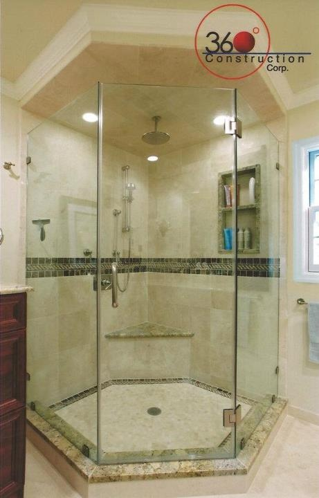 neo angle shower w crown molding  soffit  master bath
