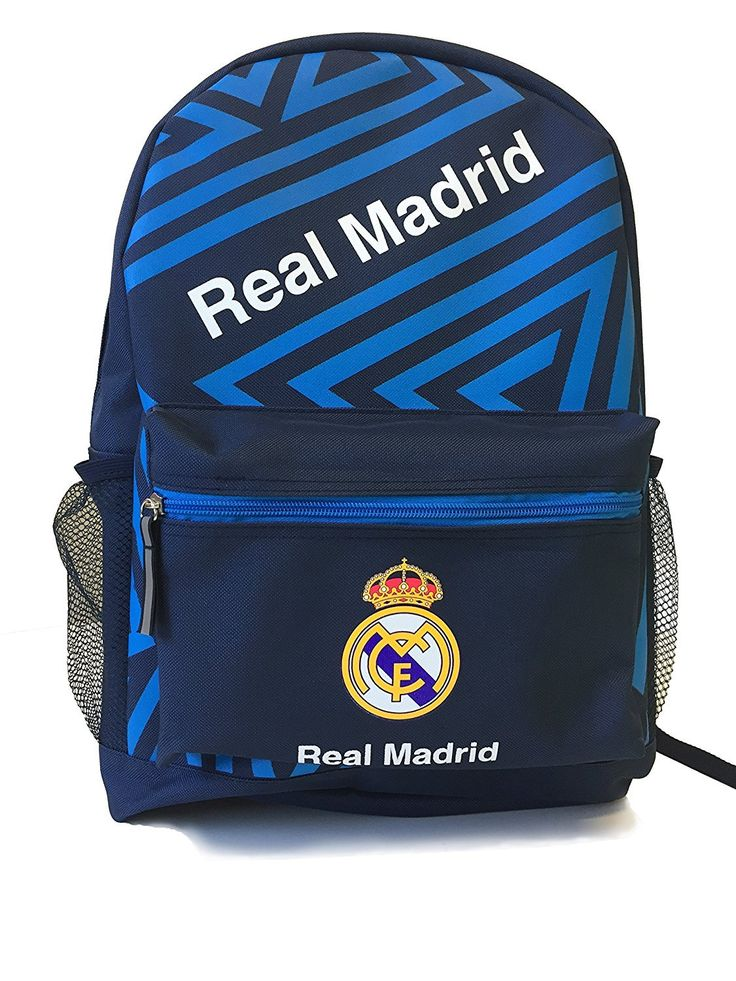 Real Madrid Backpack School Mochila Bookbag Official Licensed Product No ball pocket (Blue)