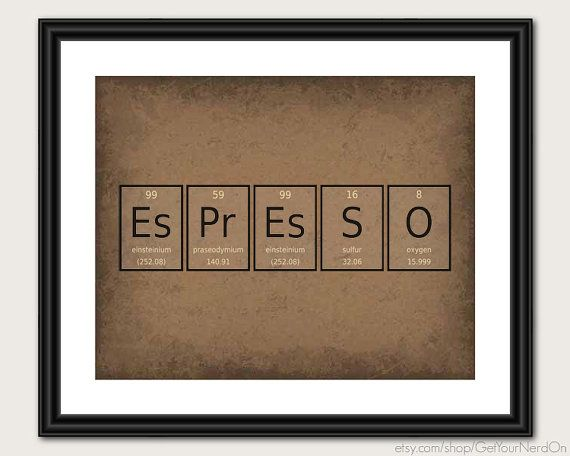 Periodic Element Word Poster  Espresso  Wall Art by GetYourNerdOn