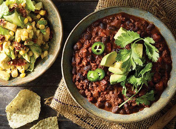 Mole-Style Chili with Smoky Caesar Salad