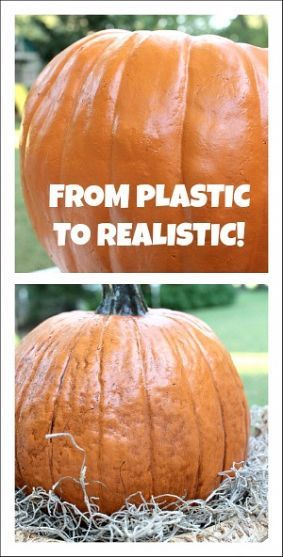 """Want to make your plastic pumpkin look real? Use antiquing acrylic paint from the craft store! My stand by color is called """"burnt umber"""". Pour some paint onto a plate and add a little water, then mix. Next, brush paint onto your pumpkin. Wipe off with a dry paper towel in an up and down motion. Once dry, spray with an acrylic sealer. EASY!!"""