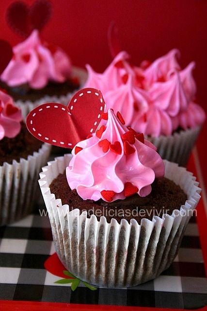 Las delicias del buen vivir: CUPCAKES DE CHOCOLATE PARA SAN VALENTIN