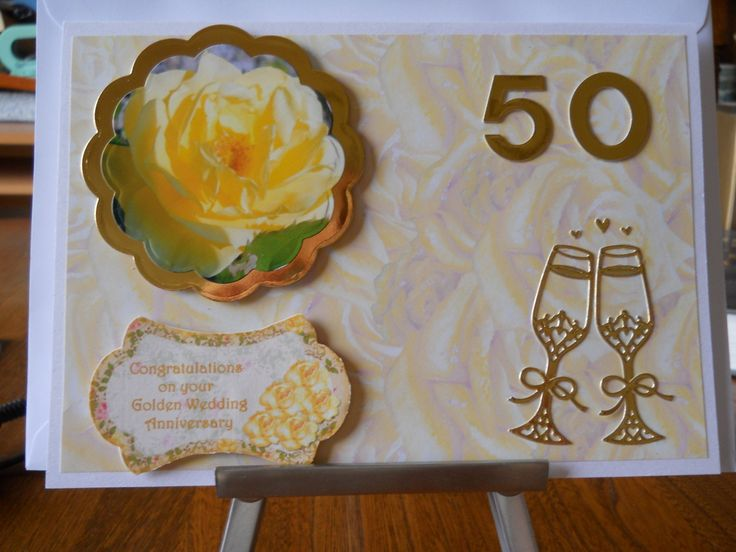 Lovely Golden wedding aniversary card by beaulyben on Etsy